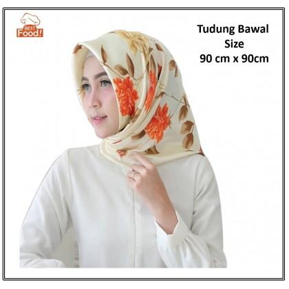 Muslimah Printed Satin Tudung Bawal - 90 cm x 90 cm