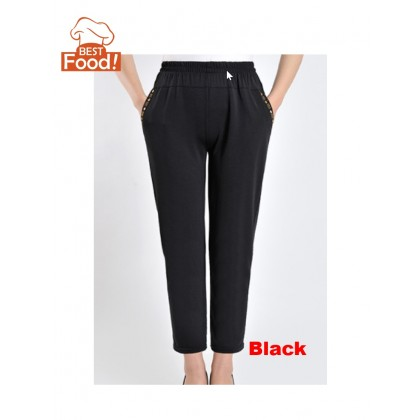 Deleted Pants For Mother or Grandmother - Casual, Loose, Straight, Elastic, High Waist, Light and Thin